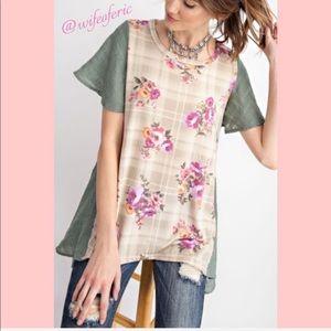 Boho Layered Look Floral & Plaid Hi-Lo Tunic S-L